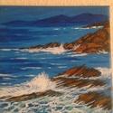 Sziklás tengerpart, Képzőművészet, Dekoráció, Festmény, Akril, 20 x 20 cm akril kép vásznon, Meska
