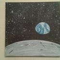 Holdról kicsit más a világ, Képzőművészet, Otthon, lakberendezés, Festmény, Falikép, 20*20 cm akril kép vásznon., Meska