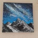 Hegy csúcs, Képzőművészet, Festmény, Akril, Napi festmény, kép, 20*20 cm akril festmény festő vásznon., Meska