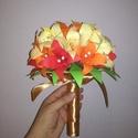 Papír virágcsokor papír liliomokból, Esküvő, Dekoráció, Esküvői csokor, Csokor, Papírművészet, Kézzel hajtogatott papír liliomokból készült virágcsokor. 25 db egyedileg hajtott virágból áll össz..., Meska