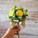 Sárga papírrózsa virágcsokor, Dekoráció, Esküvő, Csokor, Esküvői csokor, 12 egyedileg kézzel hajtogatott papírrózsákból és 12 zöld hajtogatott levélből álló virá..., Meska