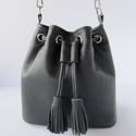 Mini vödör táska, bőr táska, mini bucket bag, valódi bőr válltáska