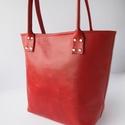 Piros/ bordó bőr válltáska, Ruha, divat, cipő, Táska, Válltáska, oldaltáska, Valódi bőrből készült táska. Kényelmesen vállon hordható, 23 cm a távolság a pánt és a táska teteje ..., Meska
