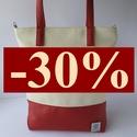 Akció! Fehér piros textilbőr táska, válltáska, oldaltáska, Ruha, divat, cipő, Táska, Válltáska, oldaltáska, Tarisznya, Textilbőrből/ műbőrből készült többfunkciós táska, piros- fehér( krémfehér) színben, most 30 % kedve..., Meska