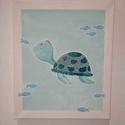 Teknős festmény, Művészet, Festmény, Akril, Festett tárgyak, Cuki teknősös festmény, amely akrillal készült. Mérete 25x30 cm. Tökéletes gyerek-, vagy babaszobáb..., Meska