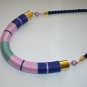AKCIÓ! - Velvet - sötétkék, rózsaszín, zöld szimmetrikus Twist fonal nyaklánc, Ékszer, óra, Nyaklánc, Ékszerkészítés, AKCIÓ!!! Vásárolj 2 vagy több twist nyakláncot vagy karkötőt, és 15% kedvezményt kapsz! (Vásárlás e..., Meska