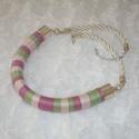 Pasztell - zöld, rózsaszín, mályva Twist fonal nyaklánc, Ékszer, Nyaklánc, AKCIÓ!!! 10.000 Ft feletti vásárlás esetén nincs postaköltség!   A visszafogott színek kedve..., Meska