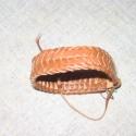 Bőr karkötő, Turavixos marhabőrből készült, 2 szálas sziro...