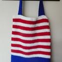 horgolt táska, Táska, Válltáska, oldaltáska, piros-kék-fehér táska  béleletlen 34x40cm   , Meska