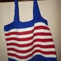 horgolt táska, Táska, Válltáska, oldaltáska, piros-kék-fehér táska  béleletlen 54x39cm   , Meska