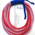 Vörös matróz - sokszálas textilékszer, újrahasznosított nyaklánc, Baba-mama-gyerek, Ékszer, Baba-mama kellék, Nyaklánc, Csomózás, Újrahasznosított alapanyagból készült termékek, Pihe-puha textilékszer polófonalból. Hossza a leghosszabb szálnál kb. 70 cm. Antiallergén, kézzel m..., Meska