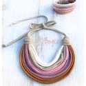 Pasztell SZETT - sokszálas textilékszer, nyaklánc, sál, Ékszer, Ruha, divat, cipő, Nyaklánc, Kendő, sál, sapka, kesztyű, Pihe-puha, allergiamentes textilnyaklánc és karkötő polófonalból.  Hossza: kb. 55 cm Kézzel mosható!..., Meska