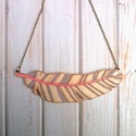 Modern fa toll nyaklánc szürke-lazac, Ékszer, óra, Nyaklánc, Saját terv alapján készült, kézzel festett fa nyaklánc.   Anyaga: 3 mm-es rétegelt nyár Nagysága: 3,..., Meska