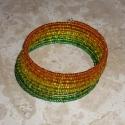 Jamaika - Zöld-citrom-narancs színátmenetes memória karkötő, Ékszer, Karkötő, Raggae, ska és napfény fanoknak! :)  Nagyon mutatós ez a 10 soros memória karkötő, ahol a színek egy..., Meska