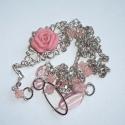 Lazacrózsaszín-ezüst hosszú asszimetrikus nyaklánc rózsával, Ékszer, Nyaklánc, Ezúttal egy nagyon visszafogott színekkel, ám annál mutatósabb, és mindenképp egyedi nyakláncot kész..., Meska