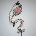Romantika - rózsás réz hosszú vintage nyaklánc, Ékszer, Nyaklánc, Ismét egy nagyon visszafogott színvilágú hosszú vintage láncot kreáltam.  A nyaklánc fő ékességét eg..., Meska