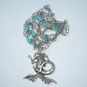 Szirén - ezüst-kék nyaklánc, Ékszer, Nyaklánc, Egy hosszú láncot készítettem türkizkék üveggyöngyökkel és egy nagyméretű, csodás sellő medállal.   ..., Meska