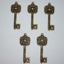 Nagy inda mintás réz vintage kulcs függők (medálok) - 5db, 5db nagyon szépen kidolgozott, antikolt sárgaré...