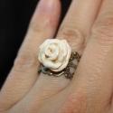 KIÁRUSÍTÁS! Fehér rózsa réz alapon - egyedi gyűrű, Ékszer, óra, Gyűrű, KIÁRUSÍTÁS! Most 30%-kal olcsóbban vásárolhatod meg ezt a terméket.  A feltüntetett ár már tartalmaz..., Meska