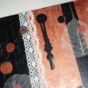 Modern nosztalgia - réz fekete csipkés egyedi falióra, Dekoráció, Otthon, lakberendezés, Falióra, óra, Különleges hangulatú órát készítettem, vegyes technikával, fekete, réz és ekrü színekkel.  Az órát t..., Meska