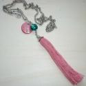 Lazac bojt türkizzel - ezüst nyaklánc, Ékszer, Nyaklánc, Egy 9,5cm-es bojtot készítettem lazacrózsaszínű fonalból, melyet  szép gyöngykupakkal díszítettem, v..., Meska