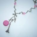 Rózsaszín macaron Eiffel toronnyal cipővel - ezüst nyaklánc, Ékszer, Nyaklánc, Macaron-rajongóknak. :)  A nyakláncot az alábbiakból állítottam össze: - egy szép, 3x1cm-es 3D antik..., Meska