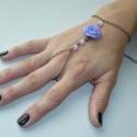 Lila rózsás réz karkötő-gyűrű (kézfejkarkötő), Ékszer, Karkötő, Gyűrű, Íme legújabb kreációm, egy karkötő-gyűrű (kézfejkarkötő), saját készítésű rózsával. Ezen ékszereket ..., Meska