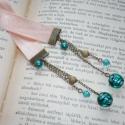 Zafír álom - bézs szatén könyvjelző türkizzöld gyöngyökkel, Dekoráció, Naptár, képeslap, album, Könyvjelző, A textil-könyvjelzők kedvelőinek készítettem legújabb könyvjelző-sorozatomat bársonyból, illetve sza..., Meska