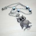 Ezüst bagoly nyaklánc, fekete-kék gyöngyökkel, Ékszer, Nyaklánc, Egyesek szerint a baglyok ideje lejárt, de ha netán Te még baglyos nyakláncot keresnél, most megtalá..., Meska