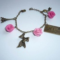 Romantika - réz karkötő rózsákkal, Ékszer, Karkötő, Romantikus, vintage karkötőt készítettem  3db saját készítésű süthető gyurmából formázott, különböző..., Meska