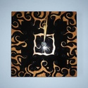 Réz-fekete egyedi festett üveg falióra , Dekoráció, Otthon, lakberendezés, Falióra, óra, Egy új óra-mintát terveztem, kicsit Tim Burton stílusban. :)  Réz színű (saját keverésű), furcsán tö..., Meska