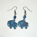 Réz-kék elefánt - füli, Egy 1,5x2cm-es, mindkét oldaláról megmunkált, ...