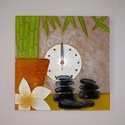 """Feng shui - egyedi festett üveg falióra , Dekoráció, Otthon, lakberendezés, Falióra, óra, Egy új óra-mintát terveztem, a feng shui jegyében. :) Bambusz, virág, kövek... Az """"óra az órában"""" mi..., Meska"""