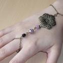 Mandalás rózsaszín-fekete réz karkötő-gyűrű (kézfejkarkötő), Ékszer, Karkötő, Gyűrű, Réz mandalás karkötő-gyűrű (kézfejkarkötő) kreációmat ismét elkészítettem, az érdeklődésre való teki..., Meska