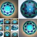 Sarki fény - kék, türkizzöld egyedi festett Mandala fali üveglámpa, Saját mintám alapján festettem meg ezt az manda...