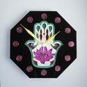Hamsa  lótusszal - egyedi festett üveg falióra, Dekoráció, Otthon, lakberendezés, Falióra, óra, Saját tervezésű minta alapján készítettem el ezt a Fatima-keze (hamsa) üvegórát nyolcszögletű óralap..., Meska