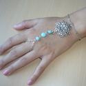 Mandalás ezüst kék karkötő-gyűrű (kézfejkarkötő), Mandalás karkötő-gyűrű (kézfejkarkötő) kre...