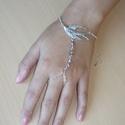 Galamb - rózsaszín, ezüst karkötő-gyűrű (kézfejkarkötő), Ékszer, Karkötő, Gyűrű, Elkészítettem egy madaras változatát az újfajta karkötő-gyűrűnek (kézfejkarkötő), ezúttal rózsaszín ..., Meska