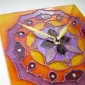 Mandala - lila, narancs mandala - egyedi festett üveg falióra, Dekoráció, Otthon, lakberendezés, Falióra, óra, Egyedi, saját tervezésű, virágszirmokból felépülő mandala üvegórát festettem lila, mályva, narancs, ..., Meska