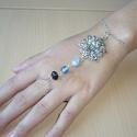 Mandalás ezüst tengerkék karkötő-gyűrű (kézfejkarkötő), Mandalás karkötő-gyűrű (kézfejkarkötő) kre...