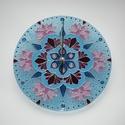 Jégvirág és Lótusz - Mandala, egyedi festett üveg falióra, Egyedi, saját tervezésű, jégvirágra emlékezt...