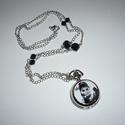 Audrey Hepburn fekete-ezüst óra-nyaklánc / ékszeróra, Elegáns, visszafogott óra-nyakláncot készítet...