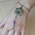 Mandalás lila réz karkötő-gyűrű (kézfejkarkötő), Réz mandalás karkötő-gyűrű (kézfejkarkötő...
