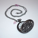 Gyönyörű fekete óra-nyaklánc / ékszeróra, Ékszer, Nyaklánc, Kivételesen fekete, inkább sötétszürke (angolul: 'gunmetal') ékszerórából készítettem nyakláncot.  A..., Meska