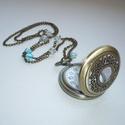 Gyönyörű kék gyöngyös réz óra-nyaklánc / ékszeróra, Újabb óranyakláncot készítettem a romantikus ...