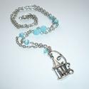 Vintage romantika - ezüst-kék nyaklánc, Ékszer, Nyaklánc, Madárkalitkás nyaklánc-sorozatom újabb példánya. :)  Egy ezüstszínű, régimódi, klasszikus madárkalit..., Meska