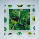 Zöld absztrakt falióra - egyedi festett üveg falióra, Dekoráció, Otthon, lakberendezés, Falióra, óra, Modern, viszonylag egyszerű  geometrikus mintával, a zöld árnyalataival festettem meg ezt az üvegórá..., Meska