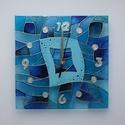 Nagy kékség - egyedi festett üveg falióra, Dekoráció, Otthon, lakberendezés, Falióra, óra, Modern, fiatalos, viszonylag egyszerű mintával, a kék árnyalataival és némi ezüsttel festettem meg e..., Meska