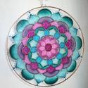 Tavaszköszöntő - egyedi üvegre festett mandala ablakdísz, fényfogó, Dekoráció, Otthon, lakberendezés, Dísz, Ez a mandalám is teljesen egyedi, különleges és egyedi stílusban készült.      Azon kevés munkám egy..., Meska