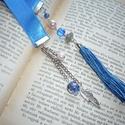Könnyedén - kék szatén könyvjelző ezüst tollal, kék bojttal, Dekoráció, Naptár, képeslap, album, Könyvjelző, A textil-könyvjelzők kedvelőinek készítettem legújabb könyvjelző-sorozatomat bársonyból, illetve sza..., Meska